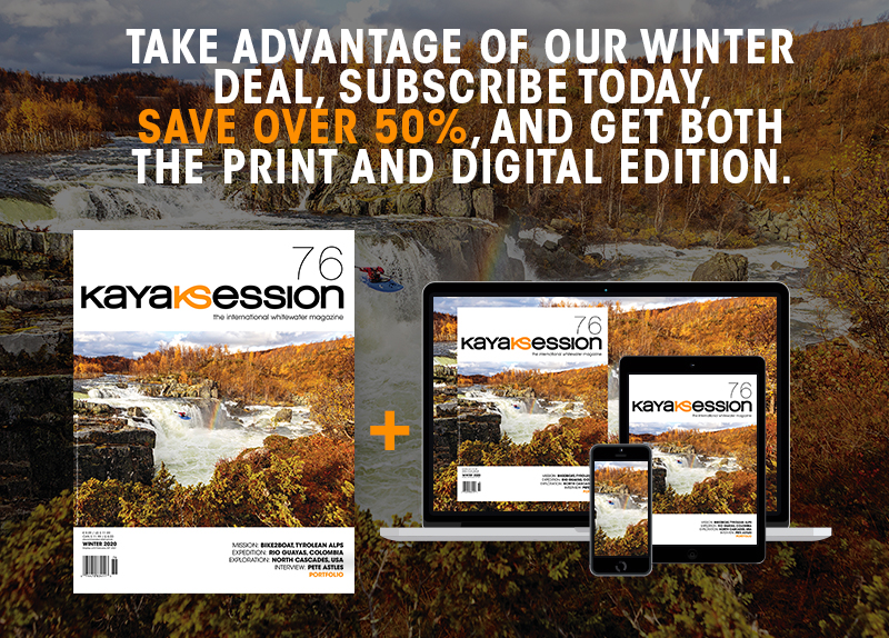 Subscription offer at the occasion of the release of the Winter 2020 issue of kayak session magazine offer