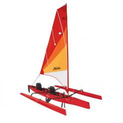 """Ride the wind: A roller-furling, vertically battened mainsail provides lift, a retractable centerboard prevents lateral slip, and the larger amas tucks parallel against the rotomolded polyethylene hull for docking. Multiple hatches, on deck storage and Vantage CT Seating encourage multi-day adventures, and the forward and reversing MirageDrive 180 with Glide Technology and Kick-Up Fins offers paddle-free locomotion when the wind scatters, making it easy to get home. The """"AI"""" is also an exceptional bluewater-capable fishing platform."""