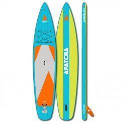 The 12'6 Sky board is the longest and fastest Apatcha board. Thanks to the flat touring shape and the generous width of 32'' it is suitable for longer trips and heavier paddlers.