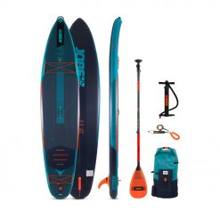 The Jobe Duna 11.6 Inflatable stand up paddle board has received some serious design changes including a more rounded tail where form meets function! It doesn't just look better, the design changes have a practical use and make for an integrated storage cord and handles.