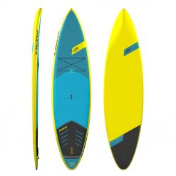 The subtle displacement bow flowing into a double concave bottom with soft thin rails and narrow tail provides a combination of good glide, stability and solid surfing characteristic. The Hybrids feature a long efficient water line offering a superior paddling sensation on flat water with the longboard type of tail for easy rail to rail transfers in the surf.
