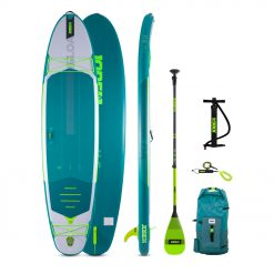 """Introducing the Jobe Loa 11.6 Inflatable Paddle Board Package for 2021! This beautiful SUP is not only jaw dropping but its jam packed with new features like an expansive deck pad extra room to bring your child along, or our """"EZ Lock Fin and heat bonded technology for a higher quality experience and construction! Wherever your journey calls, the Aero Loa will take you there!"""