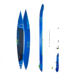 """Never to be upstaged is the Aero Neva SUP Board 12.6 Package! The perfect stand up paddle board for touring, the Neva features an all new """"EZ Lock Fin"""" and lightweight X-Stitching construction for a fast and durable ride on the water."""