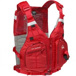This highback fishing PFD can store everything but the kitchen sink and it stays comfortable and light on the water. The cutaway back panel works with taller seats, while the slimline front lets you move freely. Choose how and where you want to stow your gear, with everything close to hand. The Kola Angler's clamshell pockets fold open for a clear view of the compartments within. There is a study stow point for pliers or braid scissors and multiple webbing and snap D-ring attachment points, including a landing net hanger at the back. Stay safe and be seen with SOLAS hi-vis panels and a clip point on the shoulders for your strobe.