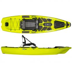 """A shorter version of its big brother, the SS107 retains virtually all the same features of the larger model, coming in at 10'7"""" length for those looking for improved portability and transportation options. It retains the hybrid catamaran hull design and HiRise seating system and an almost identical deck space for standing and moving around the boat."""