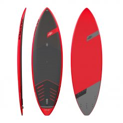 """The JP-Australia Surf range is designed for the """"no-compromise"""", top to bottom performance in the proper surf conditions for riders of all sizes. The whole Surf line has unique features: single to double concave flowing into a V tail, pulled in nose and tail, progressive rocker line and thin rails. The sophisticated color scheme, with black shades on the deck and red rails, creates a powerful design to this product. In addition, its pure performance-oriented layup makes the Surf the best choice for the perfectionist wave riders. All of the boards come with a 5 fin setup option and 3 fins."""