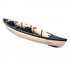 The Umiak 390 features a canoe hull while still allowing its occupants to paddle like in a kayak with a double bladed paddle. This unique concept is an alternative to fully inflatable kayaks. The Umiak 390 frame is made up of 5 aluminium tubes, giving it unrivalled rigidity in its category. With smooth lines, the Umiak boasts greater hydrodynamic properties. Its low pressure inflatable sides need no tedious inflating (kite-surfing's 'bladder' technique).