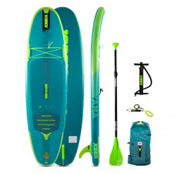 """Introducing the Jobe Yama 8.6 Inflatable Paddle Board Package for 2021! It may be our smallest SUP but it is still loaded with new features like our """"EZ Lock Fin and lightweight X-stitching construction for a higher quality experience and construction!"""