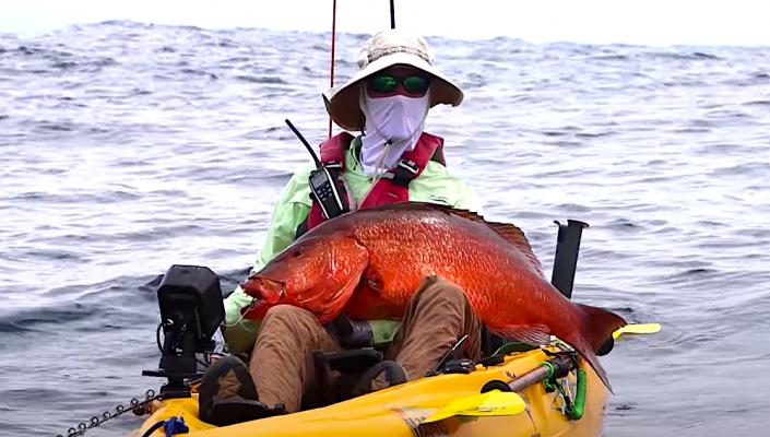 robert field kayak fishing offshore in the ocean dodging storms