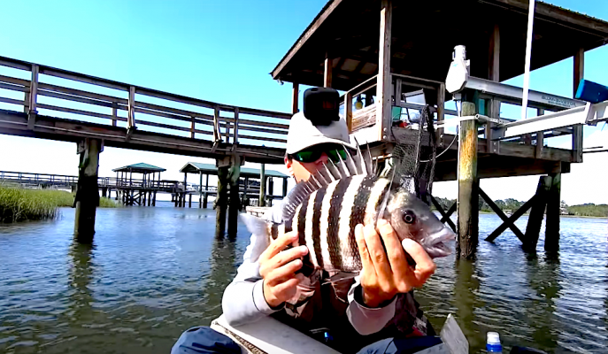 Join Houston Stewart of Beaufort SC Fishing as he goes shallow water fishing for sheepshead. He shares all his tips and tricks for catching the most fish!