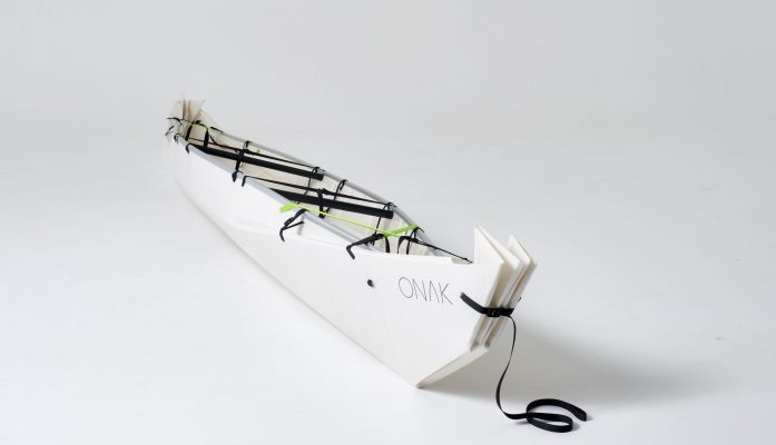 """""""Our product is a folding canoe, which can be set up origami wise and can be transported compactly. Moreover, it is very strong, unsinkable due to the specially developed sheet material and very light ("""