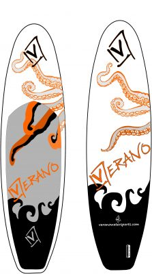 New Verano SUPs with X-Woven Drop-Stitch construction . The diagonally arranged threads can absorb high forces and improve the torsional and bending stiffness of the boards. This enables further material savings and allows the Octopus SUPs to be manufactured with exceptionally low weight and particularly compact pack size.